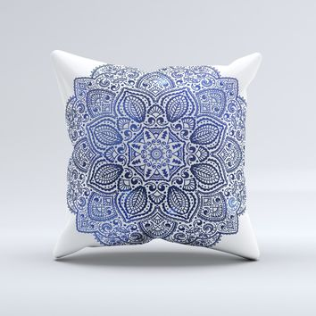 The Dark Blue Indian Ornament Ink Fuzed Decorative Throw Pillow
