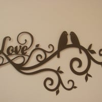 Love Bird Scroll 16 Gauge Metal Wall Sculpture