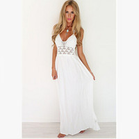2016 New Fashion White Sling V-Neck Backless Sexy Dress Sleeveless Hollow Out Summer Women Beach Dress Plus Size