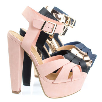 Sedona Pink By Delicious, Towering High Platform Block Heel Sandal, Women's Open Toe Chunky Shoes