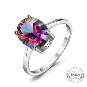 2.5ct Rainbow Fire Mystic Topazs Ring Oval Concave Cut Solid 925 Sterling Silver Ring Vintage Fashion Jewelry