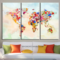 Canvas Print WORLD MAP on Watercolor Background   - Illustration World Map 3 Piece Canvas Art Print - Ready to Hang - Colorful Mix World Map