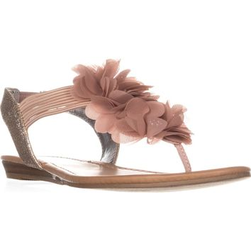 MG35 Sari Flower T-Strap Sandals, Light/Pasterl Pink, 7.5 US
