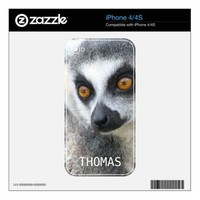 ring-tailed lemur face iPhone 4/4S  skin from Zazzle.com