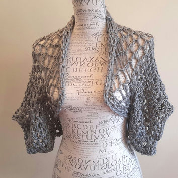 Crochet gray Shrug. Bolero. Made by Bead Gs on ETSY. ladies Size small 4-6 Summer top. Tank top Cover.