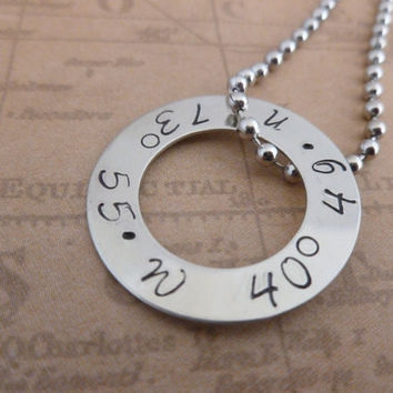 Personalized Coordinates - Latitude Longitude - Necklace Hand Stamped Jewelry