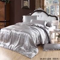 Great Taste Silver Gray Duvet Cover Set Silk Bedding Luxury Bedding, King Size