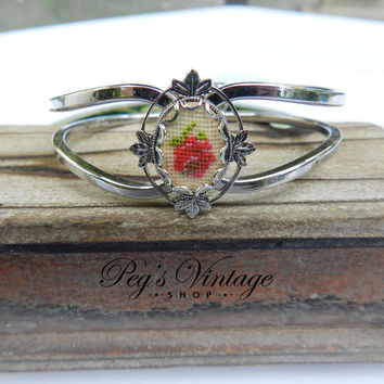 Vintage Petit Point Bracelet With Cross-Stitch Roses, Silver Tone Floral Cuff Bangle