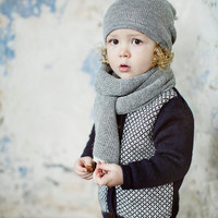 SALE 20% OFF Kids navy hat / baby / children / toddler 2-4 Y / alpaca wool slouchy beanie / over-sized gray hat /  knit unisex hat