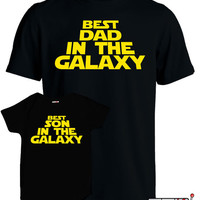 Matching Father Son Shirts Best Son and Dad In The Galaxy Matching Family Shirts First Fathers Day Men's Todder Tee Baby Bodysuit MD-422
