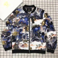 LMFUF3 VERSACE Fashion Print Long Sleeve Casual Zipper Jacket Coat G-A-PPCLZM-ZDL