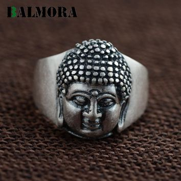 BALMORA Vintage Style 100% Real 990 Pure Silver Jewelry Buddhistic Religion Rings for Women Men Gifts Thai Silver Ring SY20550