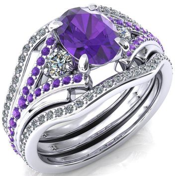 Arietis Oval Lab-Created Amethyst Diamond Sides 3/4 Eternity Accent Amethyst Ring
