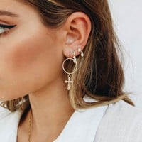 Crown Of Jewels Cross Hoop Earrings