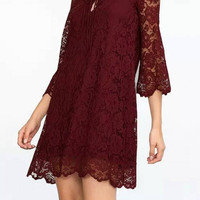 Burgundy Floral Lace Dress with Lace-up