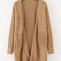 Khaki Double Pocket Cardigan