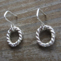 Small Hoop Earrings, Small Silver Earrings, Wreath Earrings