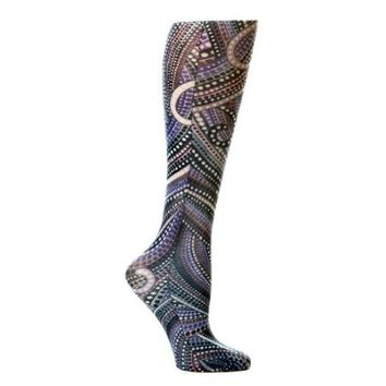 Lightweight Patterned Compression Socks in Denim Dotty