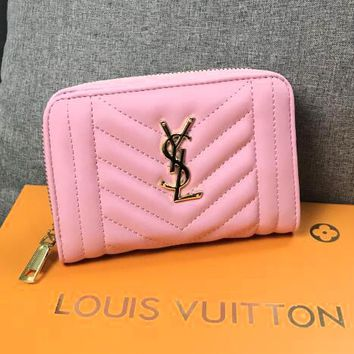 YSL Newest Fashionable Women Chic Leather Purse Wallet Pink