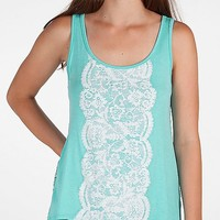 Women's Glitter Graphic Tank Topin Turquoise by Daytrip.