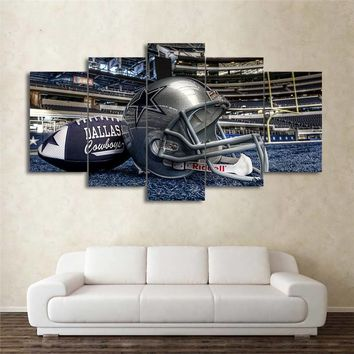 HD Printed 5 piece canvas art American Dallas Cowboys Football Helmet Pictures Picture Modern Wall Art Home Decor Painting
