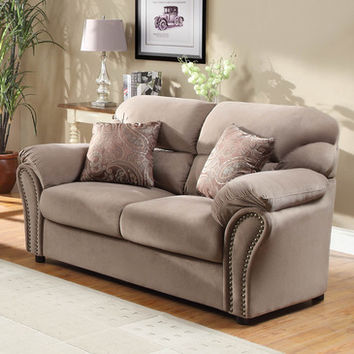 Homelegance Valentina Loveseat in Brown Microfiber