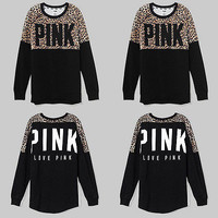 2017 new Fashion brand Leopard letter pink Women funny Female O Neck brand suits long sleeve crop top harajuku blouse