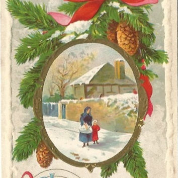 Antique Postcard A Joyful Christmas Mother and Child walking winter scene