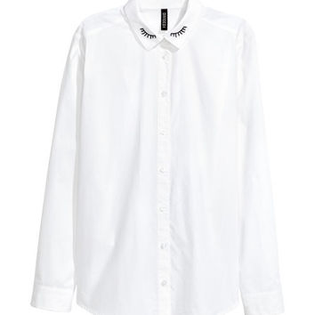 Cotton Poplin Blouse - from H&M