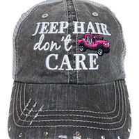 "Embroidered ""Jeep Hair Don't Care"" Washed Out Grey Trucker Cap Hat w/Swarovski Crystals (Hot Pink Jeep)"