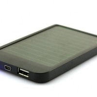 iClover New 2600mAh Portable Solar Panel Power USB Battery Charger for iphone ipad Phone MP3 MP4-Black
