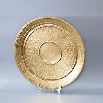 Morrocan Style Tray, Vintage Islamic Brass Serving Tray, Tea Serving, Round Tray, Home Decor, Party Platter