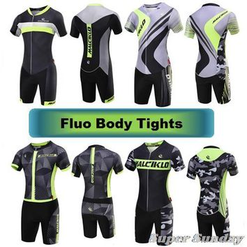 Fluorescent Skin Tights Ironman Cycling Body Jerseys Bike Wetsuits Men's Bicycle Bodysuits Speed Skating Wear Free Shipping