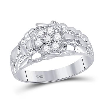 10kt White Gold Mens Round Diamond Cluster Nugget Band Ring 1/4 Cttw