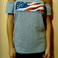FREE SHIPPING Upcycled Clothing American USA Flag July 4th Patriot Tshirt Top Tunic One of a kind Ready to Ship By Cvetinka