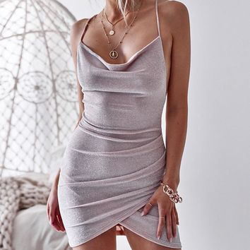 Glitter Women Dress Spaghetti Strap Backless Bodycon Sexy Mini Dress Summer New Fashion Elegant Party Club Vestidos