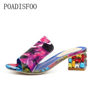 POADISFOO Women Sandals 2017 Ladies Summer Slippers Shoes Women high Heels Sandals The new diamond fashion sandals .HYKL-818