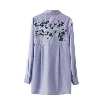 Women Embroidered Blouse Long Sleeves Cotton Blue Striped Big Bow Long Shirt Fashion Turn-down Collar Tops Fall