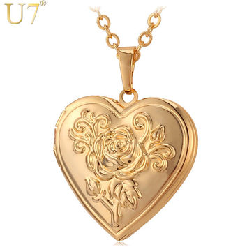 U7 Photo Frame Memory Locket Pendant Necklace Silver/Gold Color Romantic Love Heart Vintage Rose Flower Jewelry Women Gift P326