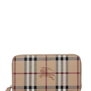 ICIK3SY Burberry Women's Haymarket Check and Leather Ziparound Wallet Camel