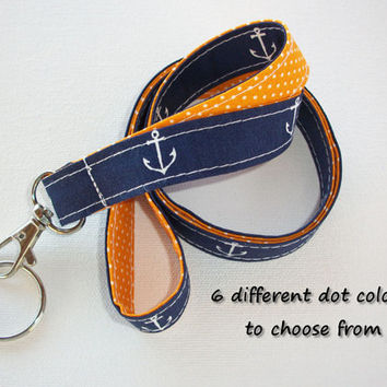 Lanyard  ID Badge Holder - Lobster clasp and key ring - design your own - navy blue white anchors -  gold pin dots - two toned double sided