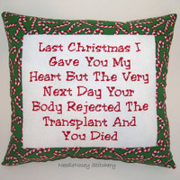 Funny Cross Stitch Christmas Pillow, Red And Green Pillow, Christmas Quote