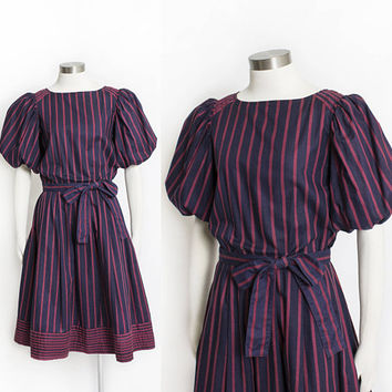 Vintage 1980s Dress - ALBERT NIPON Blue Striped Maroon Ballon Sleeve Pleated Day Dress - Small