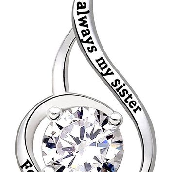 "Jewelry Sterling Silver ""always my sister Forever my friend"" Love Cubic Zirconia Pendant Necklace"