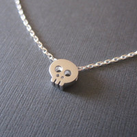Tiny White Gold Skull Necklace