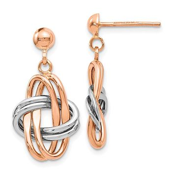 14k Rose and White Gold Double Knot Post Dangle Earrings