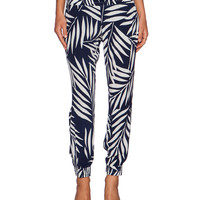 Black & White Tropical Print Low Waist Jogger Pants