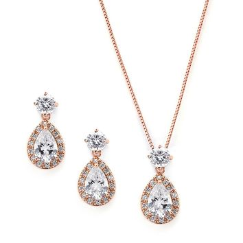 Mariell Rose Gold CZ Pear Shaped Necklace and Earrings Set - Great Wedding Jewelry for Brides & Bridesmaids