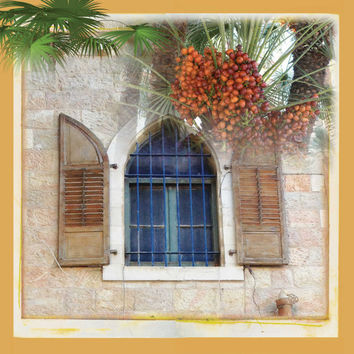 Holy Land Art, Blue Mediterranean Art, Window Art Print, Palm Landscape Art, Living Room Art, Canvas Art, Living Room Art Print, 12''x12''