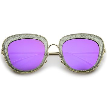 Women's Retro Modern Transparent Glitter Mirrored Lens Sunglasses A753